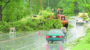 In May of 2000, authorities said straight-line winds uprooted trees as large as 5 feet in diameter. This tree that fell across Lacy Road near Richardson Road in Fitchburg was about 50 feet away from a home on Eugene Court that had its roof partially ripped off.