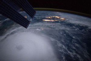 Hurricane Joaquin taken at night by Astronaut Scott Kelly from the International Space Station on 2 Oct 2015.
