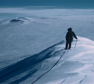 Atop an Antarctic mountain