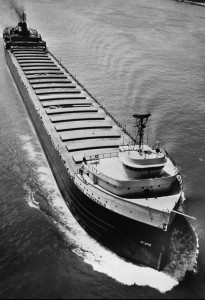 The Edmund Fitzgerald, a Great Lakes ore carrier, took on water and snapped in two during a storm on Nov. 10, 1975, on Lake Superior, plunging 556 to the lake bottom. Photo Credit: Burt Emanulle, Associated Press archives.