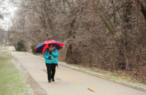 Tuyet Cullen shields herself from the sleet on Thursday as she takes the path along Atwood Avenue to a friend's house. (Photo credit:  Amber Arnold, State Journal)