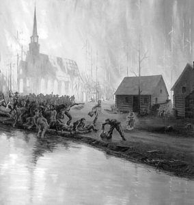 An artist's rendering of the Peshtigo Fire, October 8, 1871. As wind-fed fire raged through town, people fled to the river. (Photo credit: The Capital Times Archives)