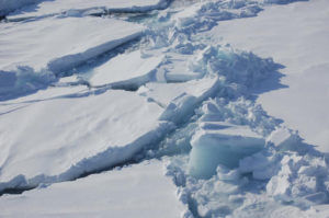 Ice floats in the Arctic near Svalbard, Norway, in April 2009. At the end of October 2016, the Arctic sea ice was at its lowest October coverage since satellite-based data records started in 1978.